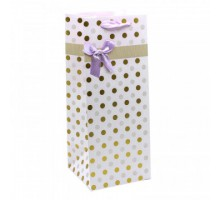 Бумажный подарочный пакет под бутылку, 14х35х14см, 0М000154М, Леди, с тиснением
