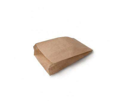 Пакет бумажный для пищевых продуктов, 140х60х250мм, жиростойкий, с плоским дном, бурый