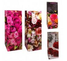 Бумажный подарочный пакет под бутылку, 16х45х15см, 0М00019V, Цветы