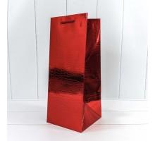 Бумажный подарочный пакет под бутылку, 14х35х14см, 0М000162М/4, Кожа крокодила, КРАСНЫЙ