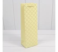 Бумажный подарочный пакет под бутылку, 12х36х9см, 0М300700М/7, Белый ромб