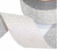 Лента полипропиленовая, 3см, 25 ярд, серебряная, с клеевым слоем