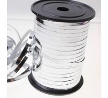 Лента полипропиленовая, 0.5см, 250 ярд, металлизированная, серебряная