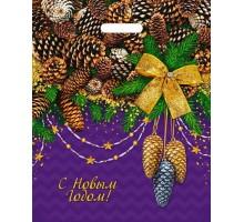 Пакет новогодний Блестящие шишки, 38х47, вырубная ручка