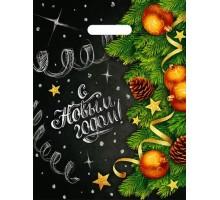 Пакет новогодний Афиша, 31х40, вырубная ручка