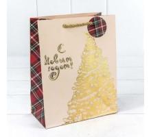 """Пакет подарочный """"Золотая елка"""", 26*32*13 см"""