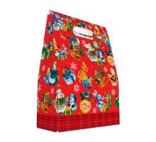 Новогодняя подарочная коробка «Паттерн Снеговики» в красном, 1200 грамм