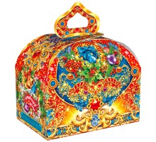 Новогодняя подарочная коробка Сундучок с узорами, 1000 грамм