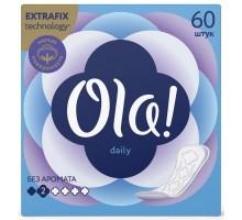 Прокладки ежедневные Ola Daily, без аромата, 2 капли, 60 штук