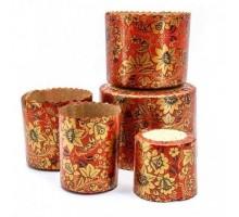Форма бумажная для кулича Цветы на красном, 70х60мм, 100 грамм