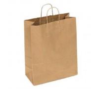 Пакет бумажный (крафт пакет), 240х140х280, крученые ручки