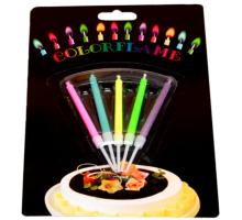 Свечи восковые для торта Цветное пламя, 5 штук в наборе
