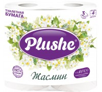 Туалетная бумага Plushe DeLux Light, 3 слоя, 4 рулона