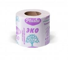 Бумага туалетная Plushe Eco, 1-слойная, с втулкой, серая, 35 метров