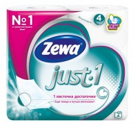 Бумага туалетная Zewa Just1, 4-слойная, белая, 4 рулона в упаковке