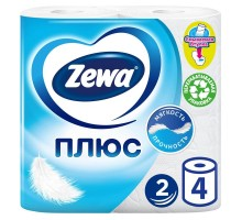 Туалетная бумага Zewa Плюс, 2 слоя, 4 рулона, белая