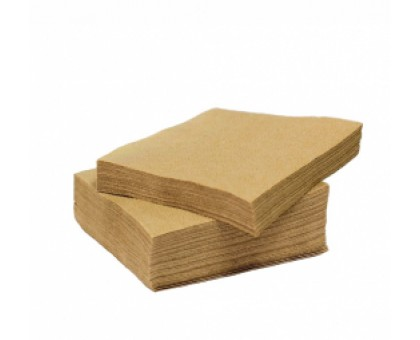 Салфетка бумажная, 24х24см, 100 листов, крафт, БУРАЯ