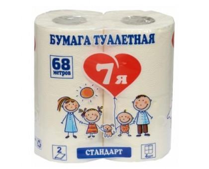 """Туалетная бумага """"7Я"""", 2 слоя, 4 штуки, белая"""