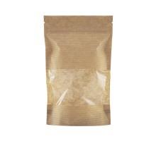 Бумажный пакет дой-пак, с замком zip-lock, 120х185мм, с окном 100мм