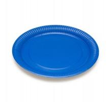Тарелка картонная, одноразовая, 230мм, синяя, Микс