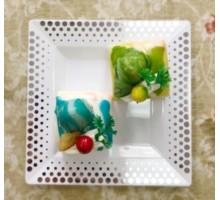 Тарелка одноразовая пластиковая квадратная, 165мм, белая, серебряный декор, Complement, 6 шт/уп