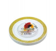 Тарелка одноразовая пластиковая Golden Lace, 190мм, белая, Complement, 6 шт/уп