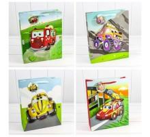 Пакет подарочный, детский, 26х32х13см, 3D-аппликация, МАШИНКА, Микс