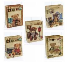 Пакет подарочный, детский, 16х20х7см, Мишки крафт, Микс