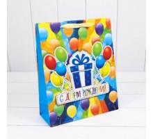 Пакет подарочный, детский, 26х32х10см, С Днем рождения, Микс