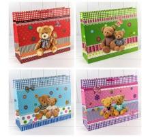 Пакет подарочный, детский, 55х40х15см, Мишки, Микс