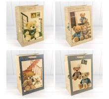 Пакет подарочный, детский, 31х45х19см, Мишки крафт, Микс