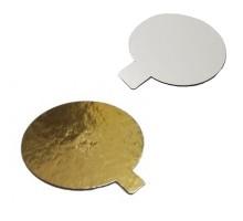 Подложка для десерта, диаметр 80мм, толщина 0.8мм, круглая, с держателем, золото/жемчуг