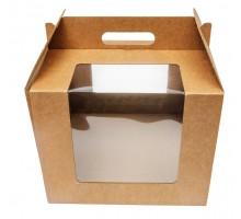Короб для тортов 250х250х200мм, бурый, с ручкой, 2 окна, РПМ