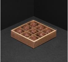 Упаковка для 9 конфет, 130x130x30мм, прозрачная крышка, белая/крафт