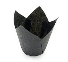 Бумажная форма для маффинов Тюльпан, 50х80мм, черная, 200 штук\уп