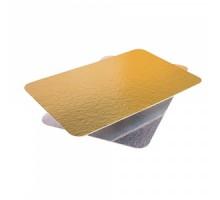 Подложка под мини-торт, рулет, пирожное, прямоугольная, 1,2 мм, 140х240мм, золото/серебро
