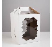 Короб для торта, 240х240х260мм, с ручкой, белый, 2 окна