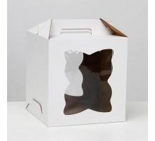 Короб для торта, 260х260х280мм, с ручкой, белый, 2 окна