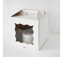 Короб для торта, 280х280х300мм, с ручкой, белый, 2 (два) ОКНА