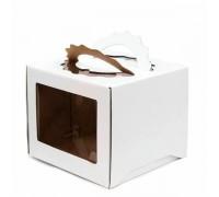 Короб для торта, 240х240х200мм, с ручкой, белый, 2 окна