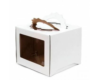 Короб для торта, 260х260х200мм, с ручкой, белый, 2 окна