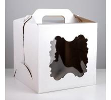 Короб для торта, 300х300х300мм, с ручкой, белый, 2 окна