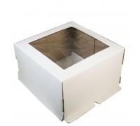 Короб для торта белый, с квадратным окном, 300х300х300мм, Россия