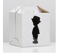 Короб для торта, 240х240х260мм, с ручкой, белый, Девочка и Мальчик