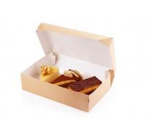 Бумажный контейнер Eco Cake 1200 для пирожных, вафель, печенья, конфет, 150х100х85 мм, Doeco