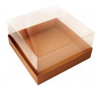 Коробка для торта, 240х240х110мм, с прозрачной пластиковой крышкой, бурая