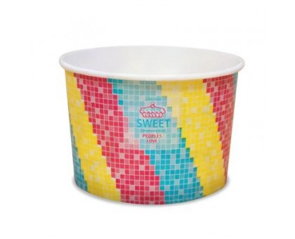 Креманка бумажная для мороженого Мозаика Sweet, 250 мл, 50шт/уп