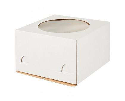 Короб картонный для торта белый, 300х300х450мм, с окном, Pasticciere