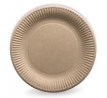Одноразовая бумажная тарелка PLATE, 210мм, бурая, с тиснением