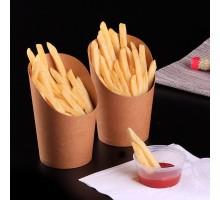 Упаковка для картофеля фри, снеков, поп корна ECO SNACK M, 480мл, Pure Kraft